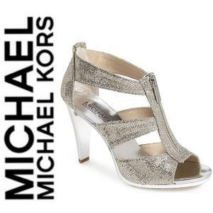 🚨NEW Michael Kors Berkley Silver Glitter Heels